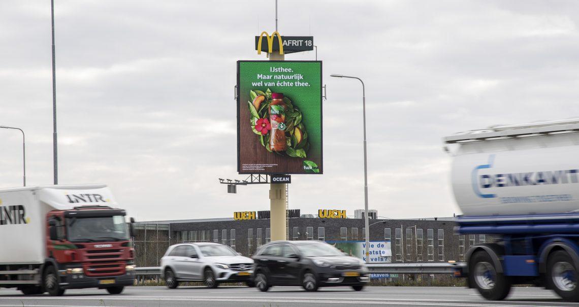 DOOH campagne Fuze tea mast Arnhem Heteren