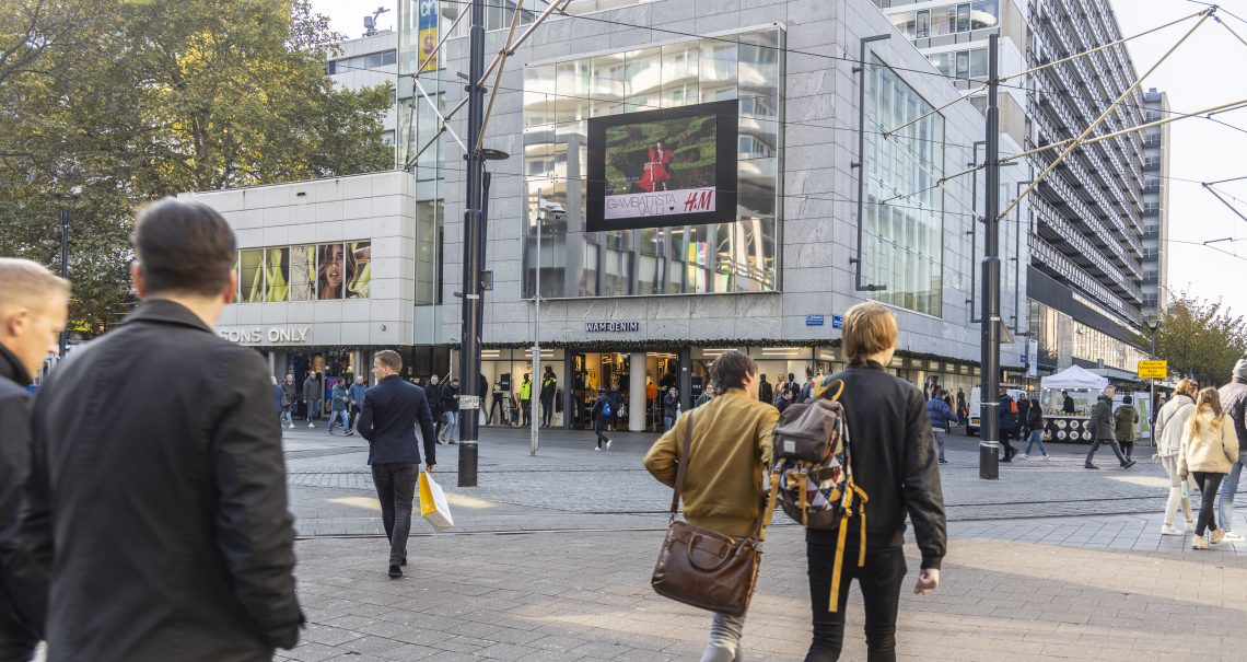 DOOH campagne H&M op Rotterdam Lijnbaan