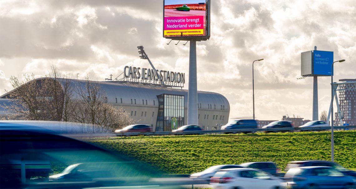 A zijde reclamemast Den Haag Knp Prins Clausplein 1 A4/A12