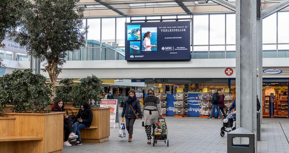 Digitaal scherm Breda Hoge Vucht campagne MscCruises