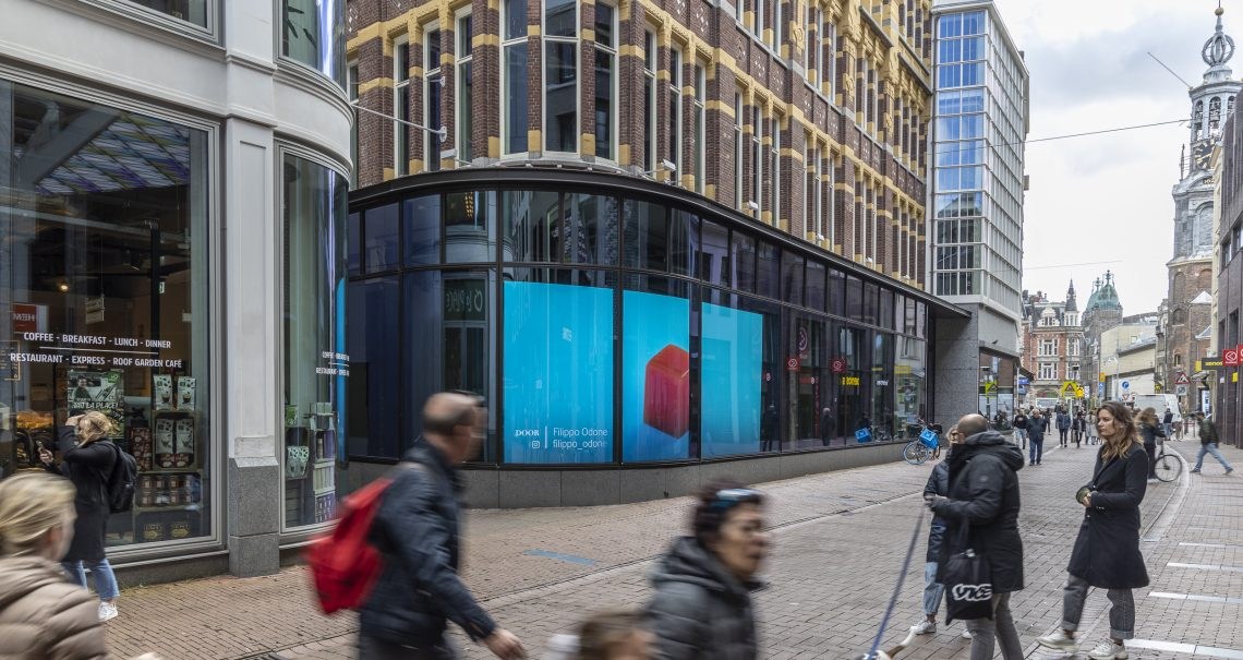 Digitaal scherm Amsterdam Kalverstraat Muntplein